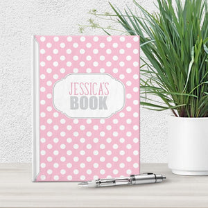 Personalized Pink Polka Dot Journal at Artistically Invited