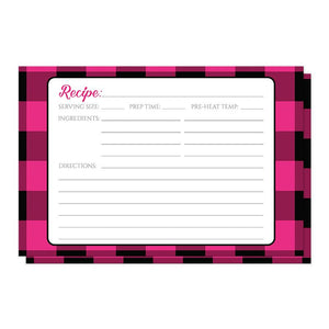 Pink and Black Buffalo Plaid Recipe Cards at Artistically Invited