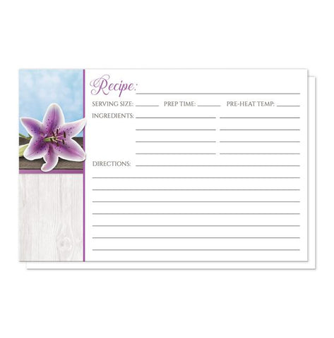 Pretty Floral Wood Purple Lily Recipe Cards