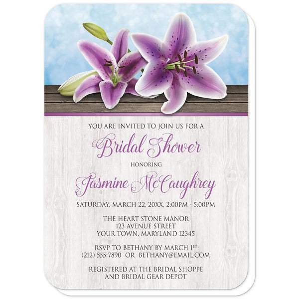 Pretty Floral Wood Purple Lily Bridal Shower Invitations (rounded corners) at Artistically Invited