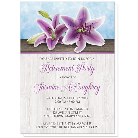 Pretty Floral Wood Purple Lily Retirement Invitations at Artistically Invited