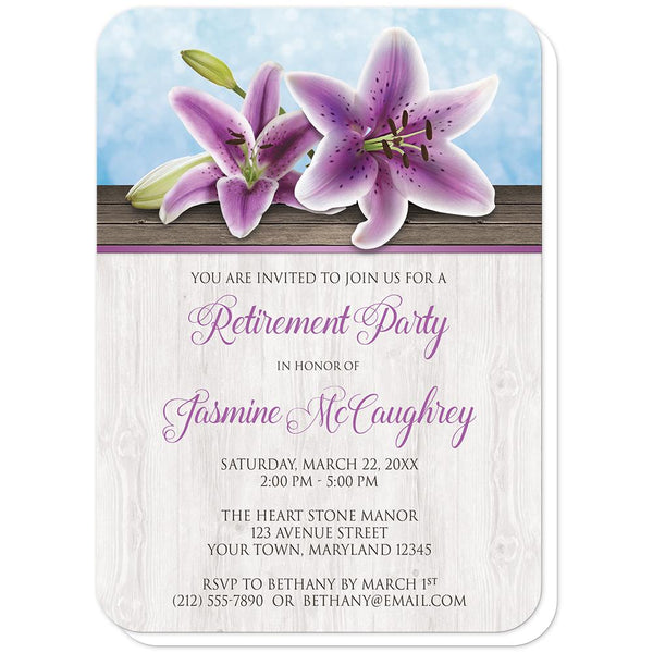 Pretty Floral Wood Purple Lily Retirement Invitations (rounded corners) at Artistically Invited