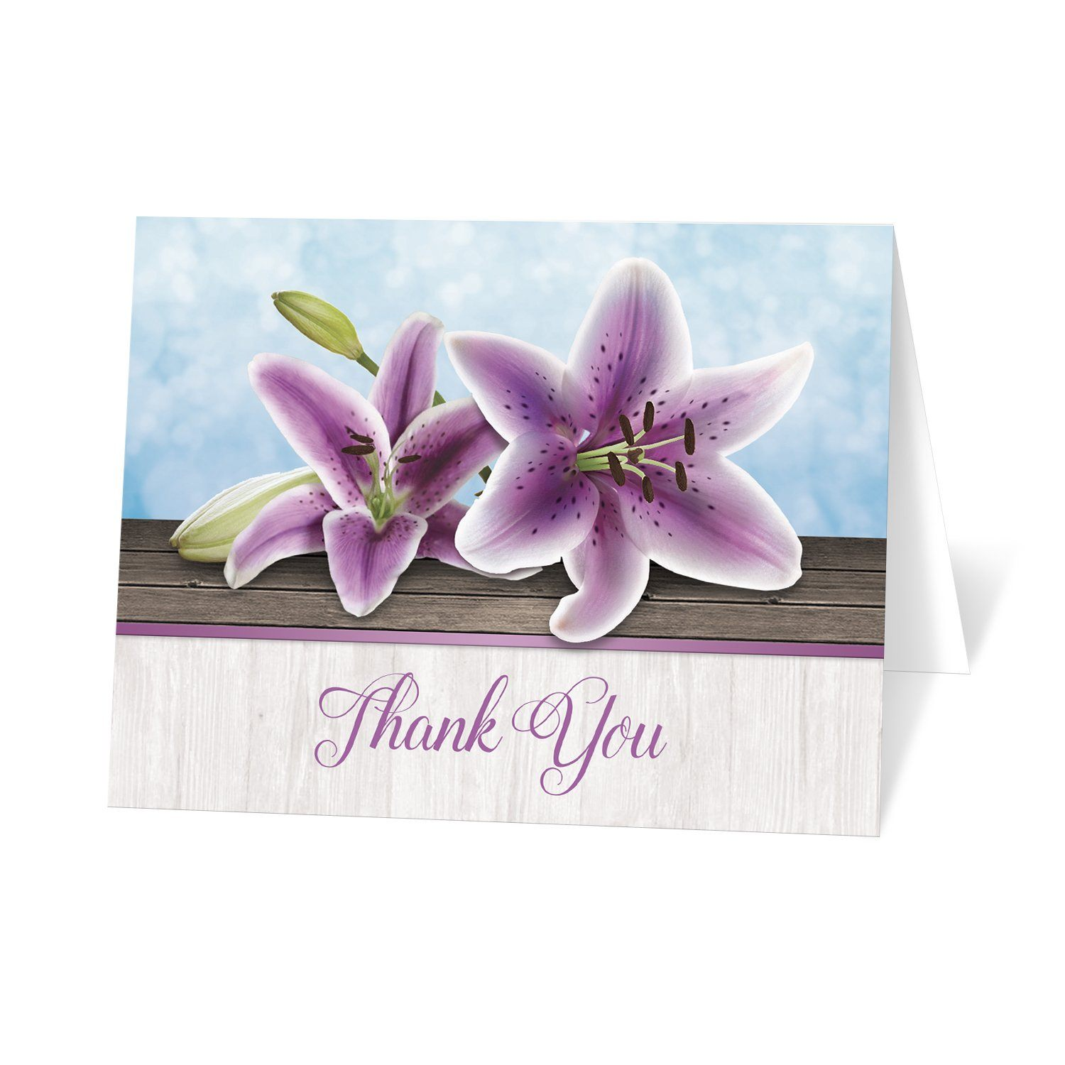Pretty Floral Wood Purple Lily Thank You Cards at Artistically Invited
