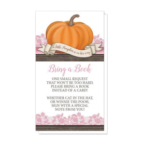 Pumpkin Orange Pink Rustic Wood - Pumpkin Bring a Book Cards at Artistically Invited