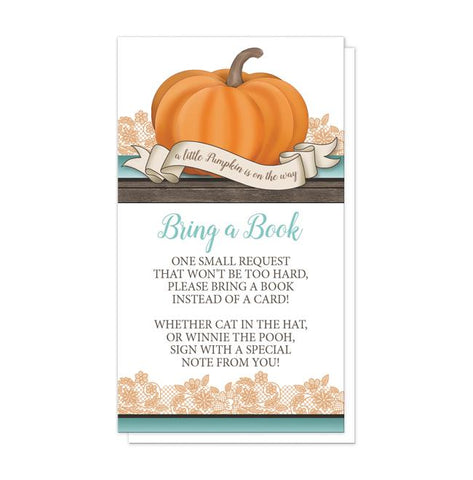Pumpkin Orange Teal Rustic Wood - Pumpkin Bring a Book Cards at Artistically Invited