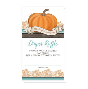 Pumpkin Orange Teal Rustic Wood Diaper Raffle Cards