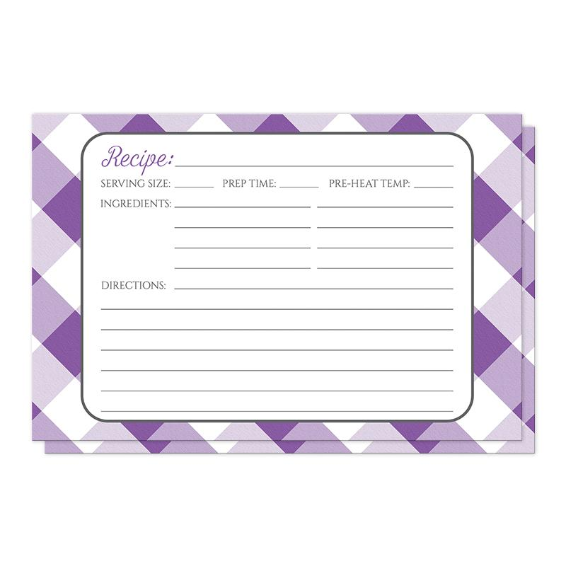 Purple Gingham Recipe Cards at Artistically Invited