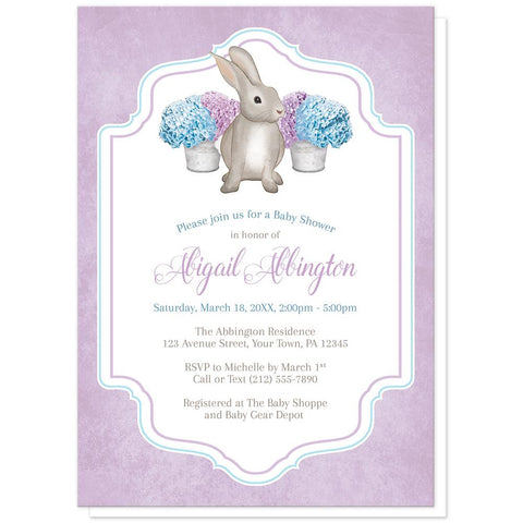 Rabbit Baby Shower Invitations - Purple Blue Hydrangea Rabbit Baby Shower Invitations at Artistically Invited