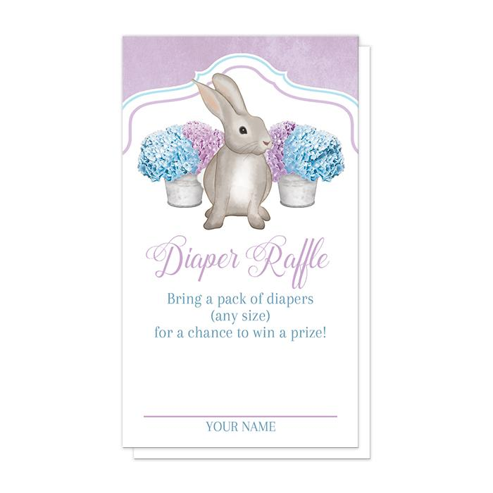 Rabbit Diaper Raffle Cards - Purple Blue Hydrangea Rabbit Diaper Raffle Cards at Artistically Invited