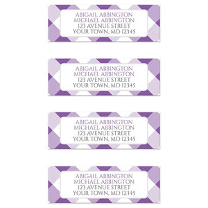 Purple Gingham Return Address Labels at Artistically Invited