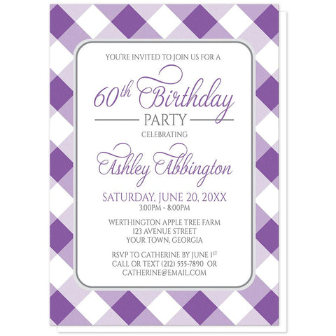 Purple Gingham Birthday Party Invitations at Artistically Invited