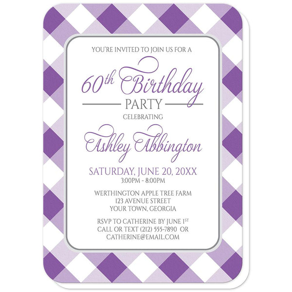 Purple Gingham Birthday Party Invitations (rounded corners) at Artistically Invited