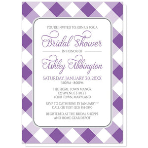 Purple Gingham Bridal Shower Invitations at Artistically Invited