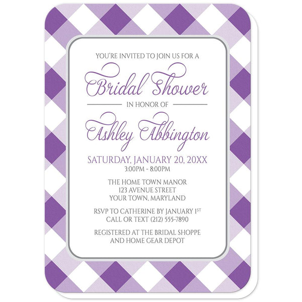 Purple Gingham Bridal Shower Invitations (rounded corners) at Artistically Invited