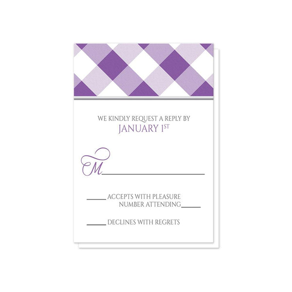 Purple Gingham Wedding RSVP Cards at Artistically Invited