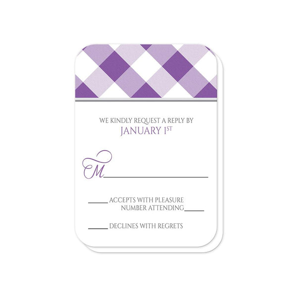 Purple Gingham Wedding RSVP Cards (rounded corners) at Artistically Invited