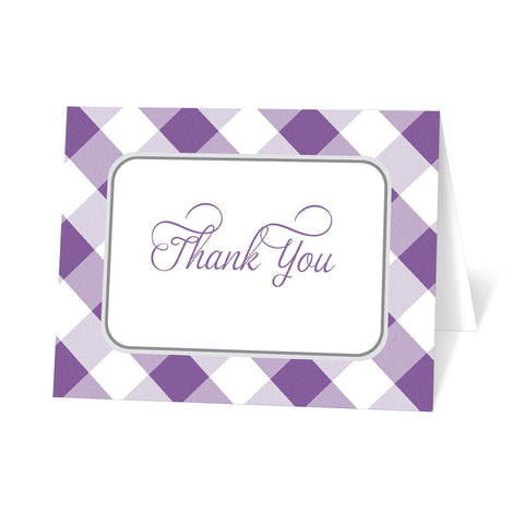 Purple Gingham Thank You Cards at Artistically Invited