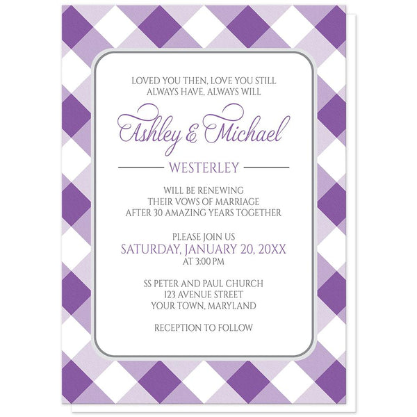 Purple Gingham Vow Renewal Invitations at Artistically Invited