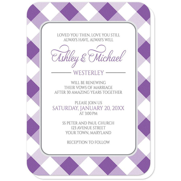Purple Gingham Vow Renewal Invitations (rounded corners) at Artistically Invited