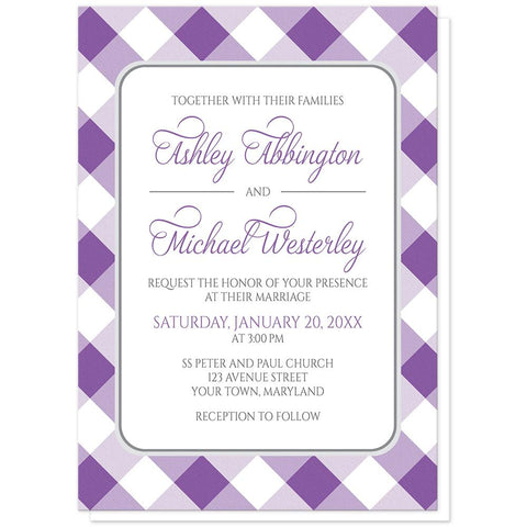 Purple Gingham Wedding Invitations at Artistically Invited