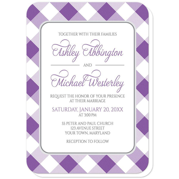 Purple Gingham Wedding Invitations (rounded corners) at Artistically Invited