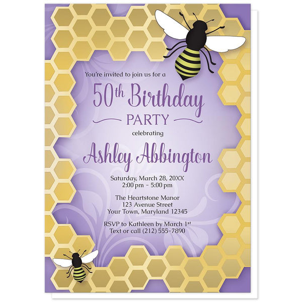Purple Honeycomb Bee Birthday Party Invitations at Artistically Invited