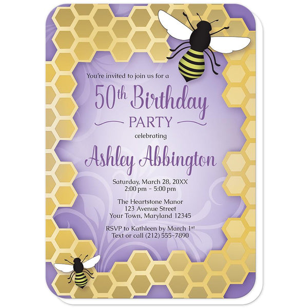 Purple Honeycomb Bee Birthday Party Invitations (rounded corners) at Artistically Invited
