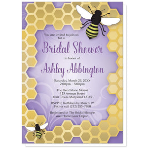 Purple Honeycomb Bee Bridal Shower Invitations at Artistically Invited