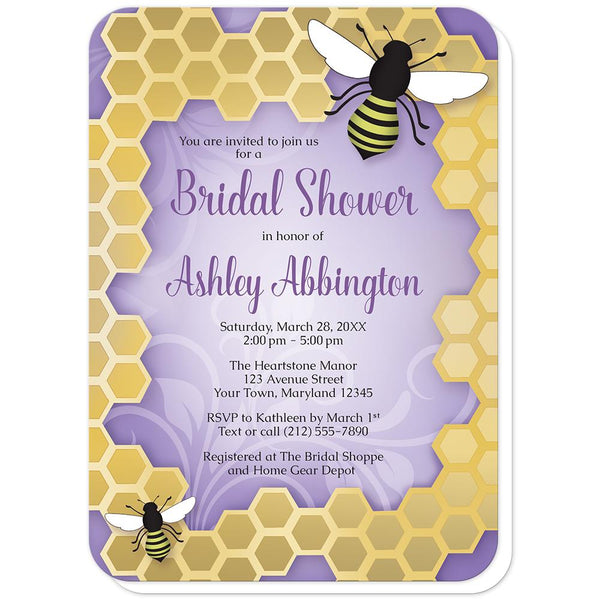 Purple Honeycomb Bee Bridal Shower Invitations (rounded corners) at Artistically Invited