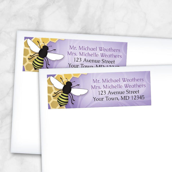 Purple Honeycomb Bee Return Address Labels at Artistically Invited