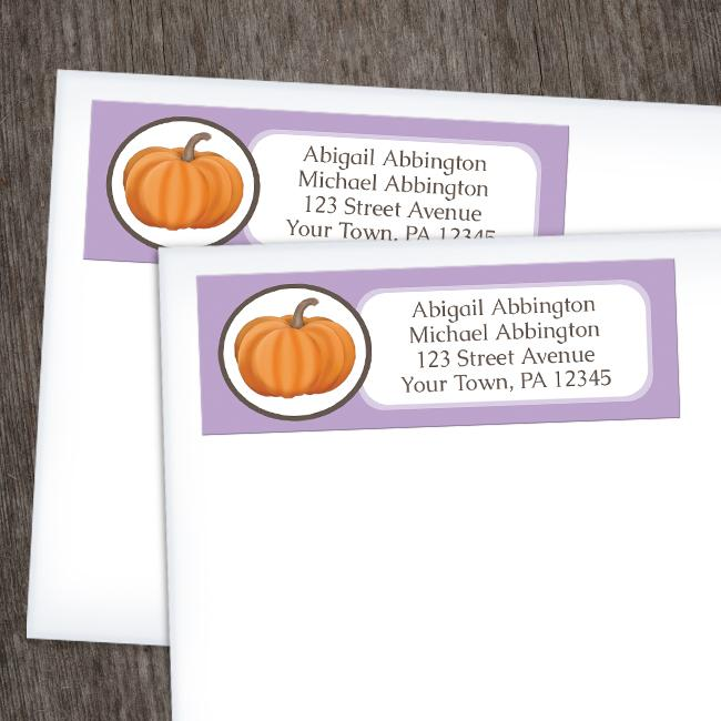 Purple Pumpkin Return Address Labels at Artistically Invited