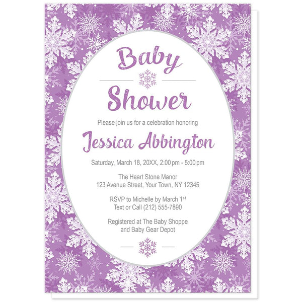 Purple Snowflake Baby Shower Invitations at Artistically Invited