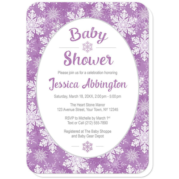 Purple Snowflake Baby Shower Invitations (rounded corners) at Artistically Invited