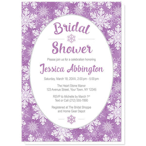 Purple Snowflake Bridal Shower Invitations at Artistically Invited