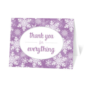 Purple Snowflake Winter Thank You Cards at Artistically Invited
