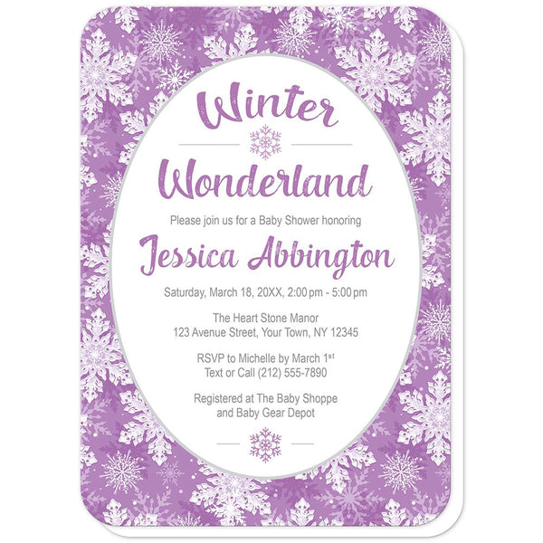 Purple Snowflake Winter Wonderland Baby Shower Invitations (rounded corners) at Artistically Invited