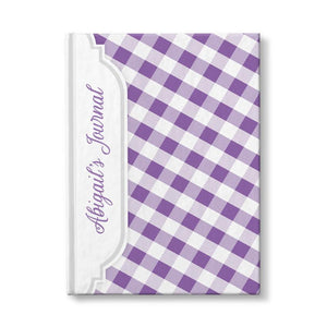 Personalized Purple Gingham Journal at Artistically Invited