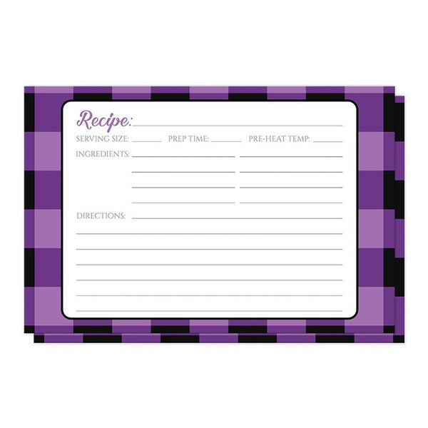Purple and Black Buffalo Plaid Recipe Cards at Artistically Invited