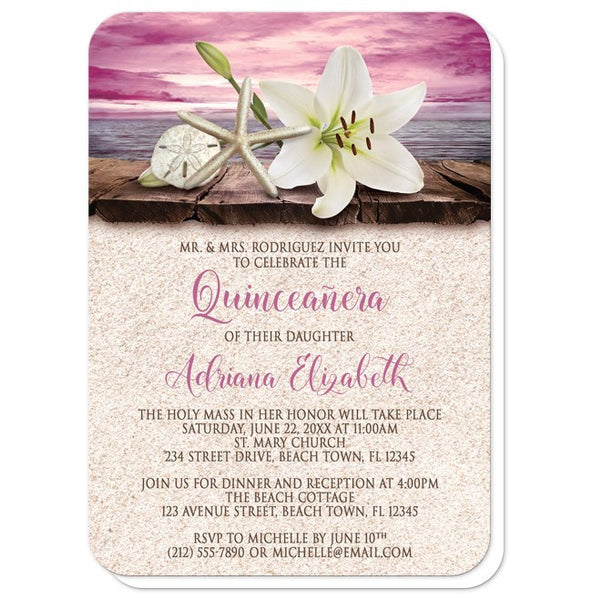 Quinceañera Invitations - Lily Seashell Sand Magenta Beach - rounded corners