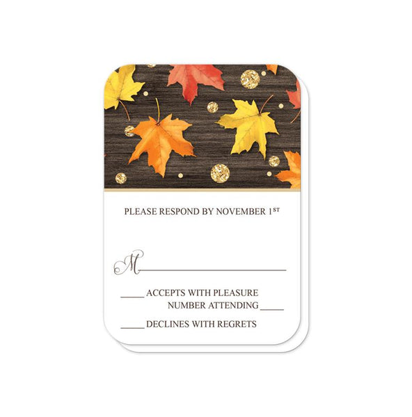 Falling Leaves with Gold Autumn Reception Only Invitations