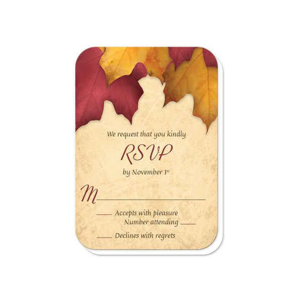 Rustic Burgundy Gold Autumn Wedding Invitations