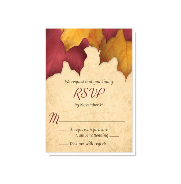 Rustic Burgundy Gold Autumn Reception Only Invitations