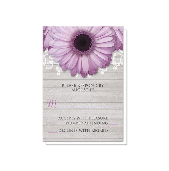 Rustic Purple Daisy Gray Wood Reception Only Invitations