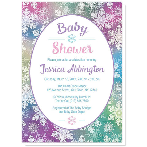 Rainbow Snowflake Baby Shower Invitations at Artistically Invited
