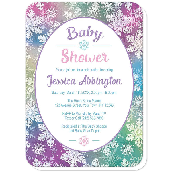 Rainbow Snowflake Baby Shower Invitations (rounded corners) at Artistically Invited