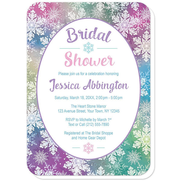 Rainbow Snowflake Bridal Shower Invitations (rounded corners) at Artistically Invited