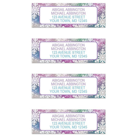 Rainbow Snowflake Winter Return Address Labels at Artistically Invited