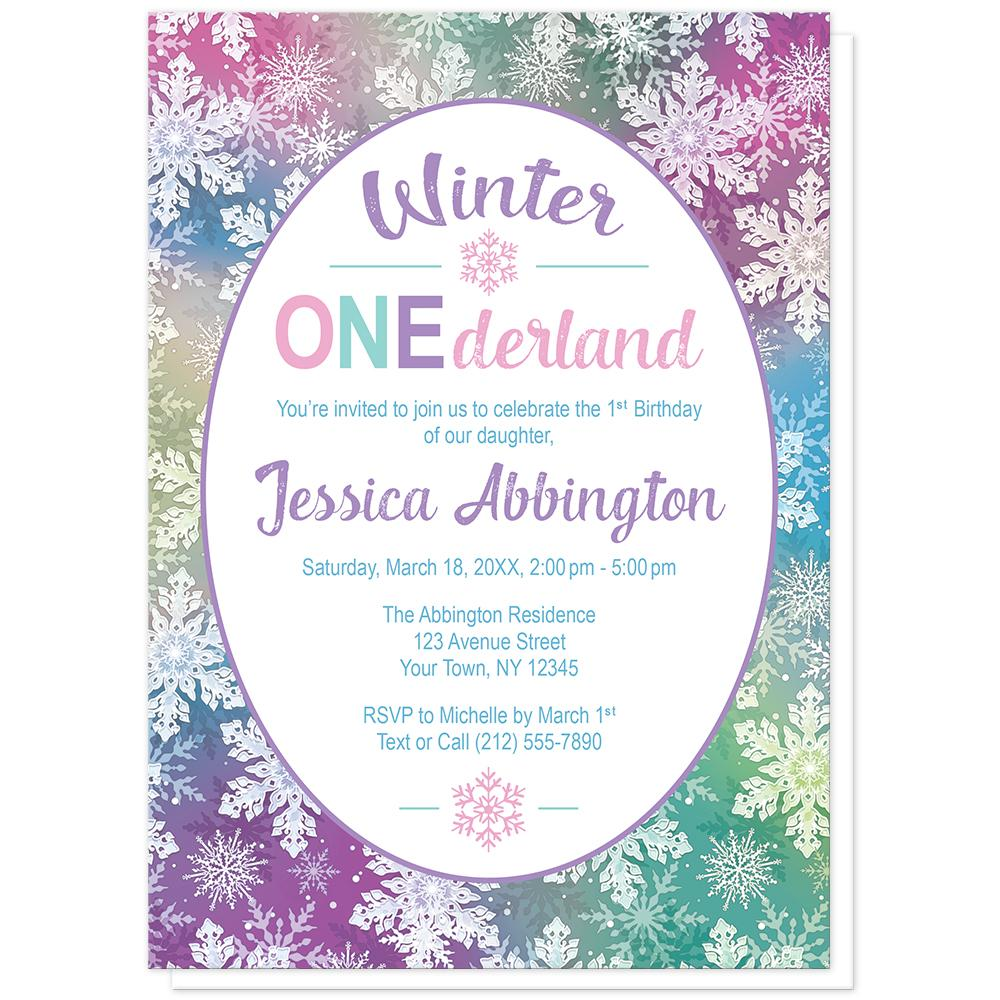 Rainbow Snowflake 1st Birthday Winter Onederland Invitations at Artistically Invited