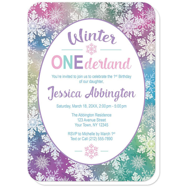 Rainbow Snowflake 1st Birthday Winter Onederland Invitations (rounded corners) at Artistically Invited