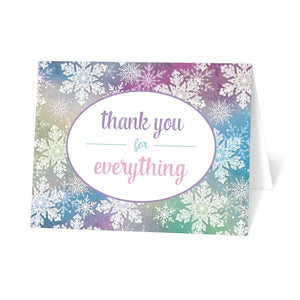 Rainbow Snowflake Winter Thank You Cards at Artistically Invited